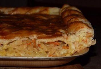 Cavolo riempitivo torta per la pasticceria pigri e lievito con crauti