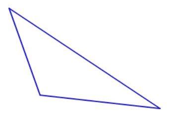 triangle obtus: la longueur des côtés, la somme des angles. Décrit triangle obtus
