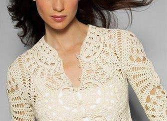 A céu aberto crochet blusa: diagrama, descrição, fotos,