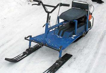 "snowmobile caseiro da motosserra ""Amizade"", ""Ural"", ""calma"". Mini-snowmobile da motosserra"