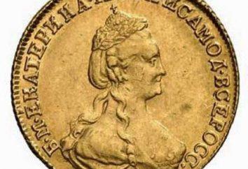 Gold, Silber und Kupfermünzen von Catherine 2. Foto und Wert