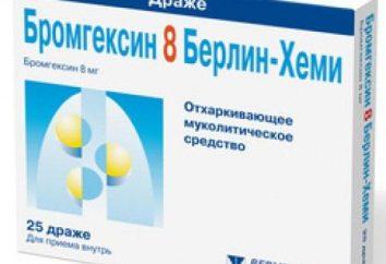 """""""Bromexina 8 Berlin-Chemie"""": instruções de utilização, a designação e comentários"""