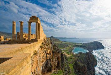 Grèce, Rhodes. Île de Rhodes sur la carte. Rhodes vacances