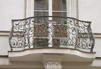 Invólucro para varandas de metais: estrutura, características de montagem. cercas de proteção e decorativos