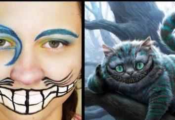 """Maquillaje de gato de Cheshire de """"Alicia en el país de las maravillas"""" en Halloween con sus manos"""