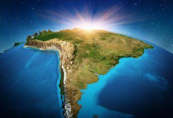 Minéraux en Amérique du Sud: une table, une liste de