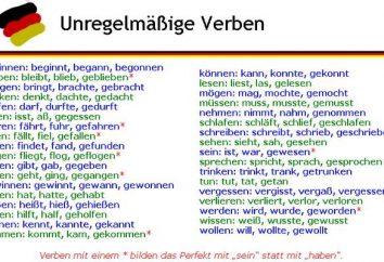 Czasowniki nieregularne języka niemieckiego i cechy swoich badaniach