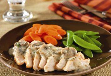 Poitrine de poulet aux champignons dans une sauce crémeuse. recette