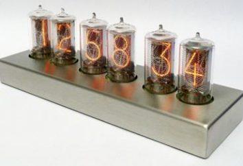 Horas nos indicadores de descarga de gás. Esquema de relógio em indicadores de descarga de gás
