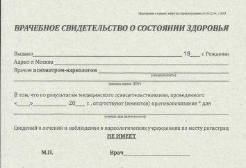 Polizei Zertifikate von der psycho-neurologischen Klinik, ihren Zweck, Merkmale und Verfahren zur Herstellung