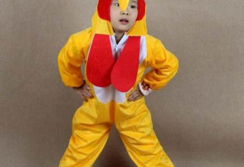 Hahn Kostüm für das Kind mit seinen Händen