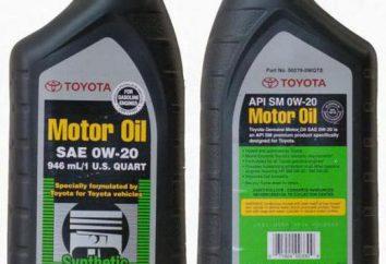 Toyota huile 0W20: description et avis