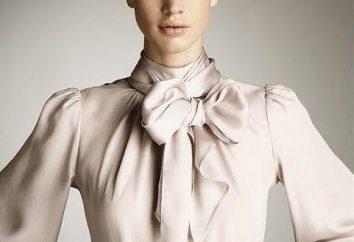 Bluse mit einem Bogen um den Hals. Sommerbluse aus Chiffon. Modelle von Blusen mit einem Bogen um den Hals
