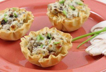 Comment préparer tartelettes aux champignons, le poulet et le fromage?
