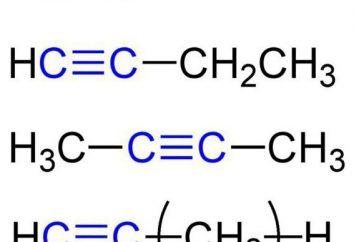 Le proprietà chimiche di alchini. La struttura, preparazione, applicazione