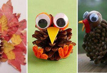 Siamo impegnati nel lavoro creativo con i bambini. Artigianato da coni con le loro mani