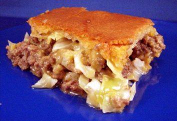 Tarte aux choux et de la viande. Recette pour une délicieuse tarte aux choux dans le four