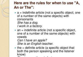 Articolo uno, una, la lingua inglese: esempi di utilizzo, di solito