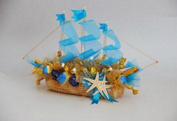 Das Schiff Pralinen – eine Meisterklasse. Ship of sweets – Foto. Wie von den Bonbons versenden