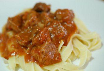 Condimento per la pasta nella sala da pranzo: una descrizione della preparazione e ingredienti