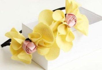 acessório do cabelo bonito e elegante – a borda com flores. Suas mãos fazer jóias originais