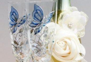 Elegancka butelka ślub. Wyrozumieć z rękami szybkie, proste, oryginalne