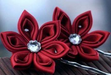 KANZASHI piękne – kwiaty wykonane z tkaniny i satynowe wstążki