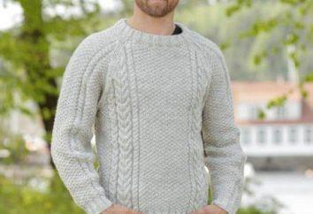 padrões Aran com diagramas raios, foto e descrição do macho de blusas de tricô