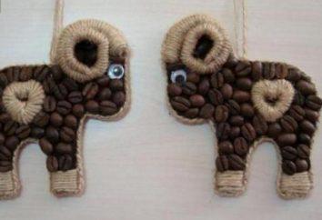 Artesanato com as próprias mãos: um cordeiro de grãos de café, uma árvore de Natal e um ouriço