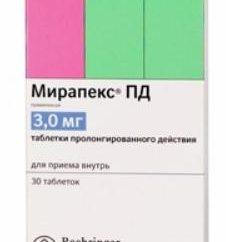 """""""Mirapex"""": instruções de utilização, descrição, comentários"""