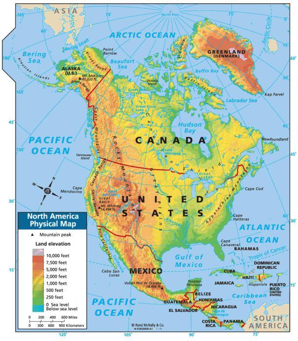 Cartina Fisica Del Nord America.Natura America Del Nord In Particolare La Natura Del Nord America