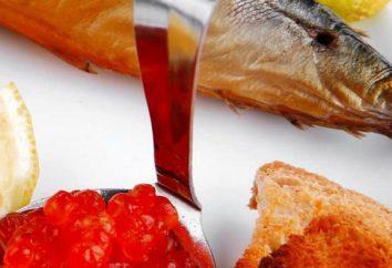 La excelente combinación: pez rojo, caviar rojo. ensalada de recetas con los pescados rojos y caviar