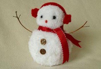 Boneco de neve de pompons com as mãos: uma master class na criação