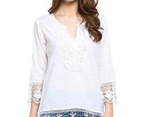 Quali cose combinati tunica bianca in cotone?