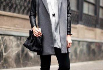 abrigo de moda y versátil, con mangas de cuero