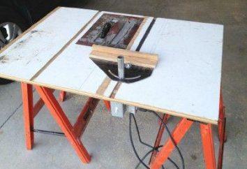Tabela serra circular. Com as mãos em torno de uma mesa para uma serra circular