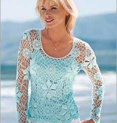 Letnia bluzka szydełka dla kobiet z systemem. Szydełkowania dla początkujących