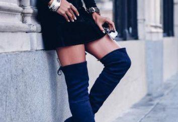 Da cosa indossare stivali in camoscio blu: abito, cardigan, cappotto