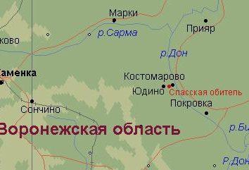 Kostomarovo, regione di Voronezh. Mappa di regione di Voronezh
