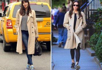 Zapatillas de deporte con un abrigo. combinaciones clásicas y de moda, la forma de vestir