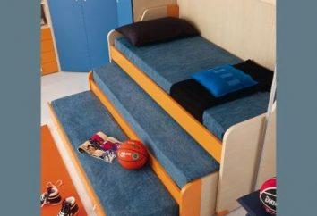 À trois niveaux lit retirable – mobilier confortable pour les enfants et leurs parents