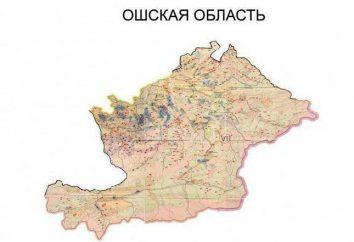 Osh oblast do Quirguistão. Cidades e regiões, a população de Osh oblast