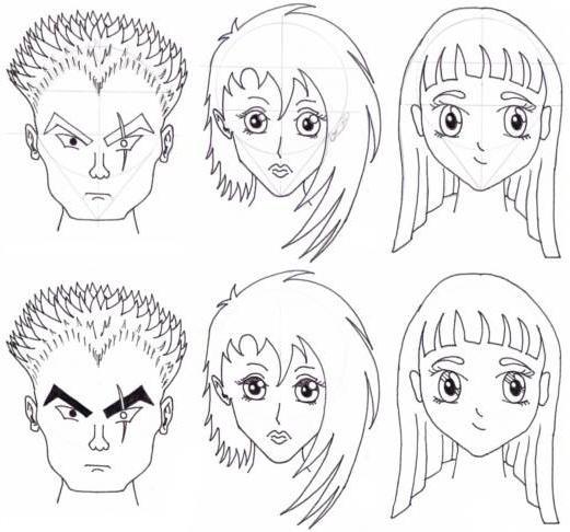 Contoh Komik Manga: Como Desenhar Anime Rosto? Lápis Anime Pessoa