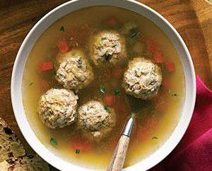 """Rezept """"Suppe mit Fleischbällchen"""" in den beiden Ausführungsformen"""