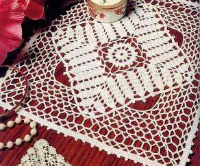 Servietten Quadrat häkeln: das Schema und Beschreibung. Crochet quadratischen Servietten Häkeln für Anfänger