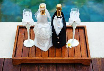 Butelka na ślub, ozdobione własnymi rękami
