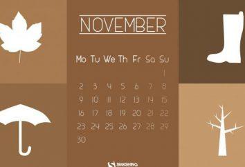 Les principaux jours de fête de Novembre