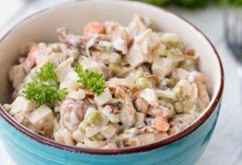 Recette de salade avec des champignons. Variantes salade de cuisson