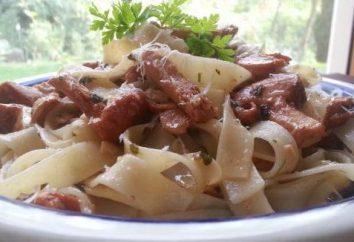 Pasta mit Pfifferlingen in Sahnesauce: Beschreibung und Verfahren zur Herstellung Mahlzeiten
