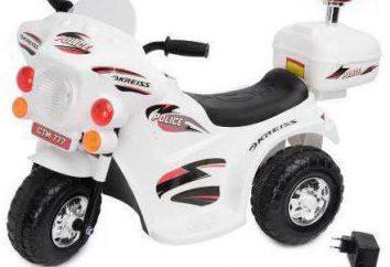 """Motocykl Kreiss """"Police"""" 6V: komentarze instruktażowe. Mały rower dla dzieci"""